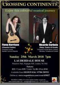 Crossing Continents: Ricardo Curbelo and Fiona Harrison in Concert @ Lauderdale House | England | United Kingdom