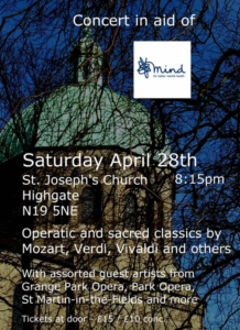 Concert in aid of MIND guest artists from Grange Park Opera and others @ St Joseph's Church | England | United Kingdom