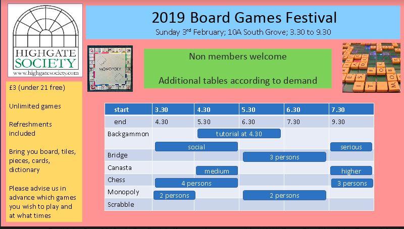 Board Games Festival @ Highgate Society