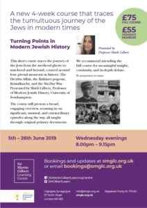 Sir Martin Gilbert Learning Centre - 4 week course on Turning Points in Modern Jewish History @ Highgate (N6) Venue details confirmed upon booking
