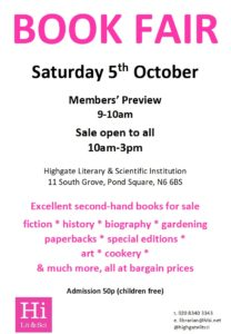 BOOK FAIR @ Highgate Literary & Scientific Institution